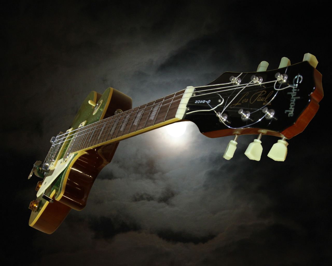 Guitar Wallpaper Gibson Epiphone Les Paul With Moon Backgound